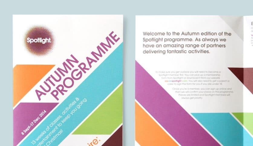 Spotlight Youth Centre autumn programme design