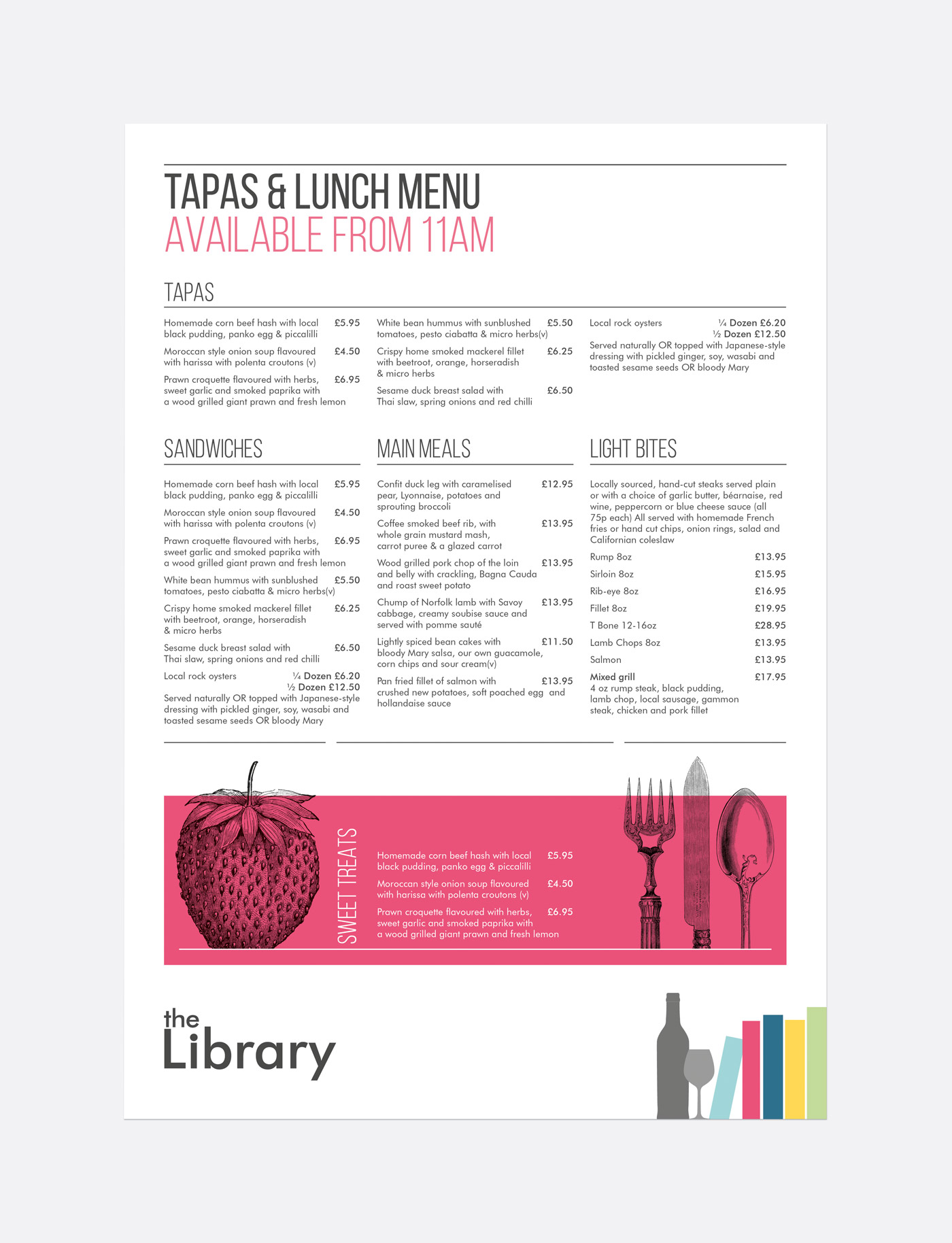The library restaurant identity design tessellate design for Tapas menu template