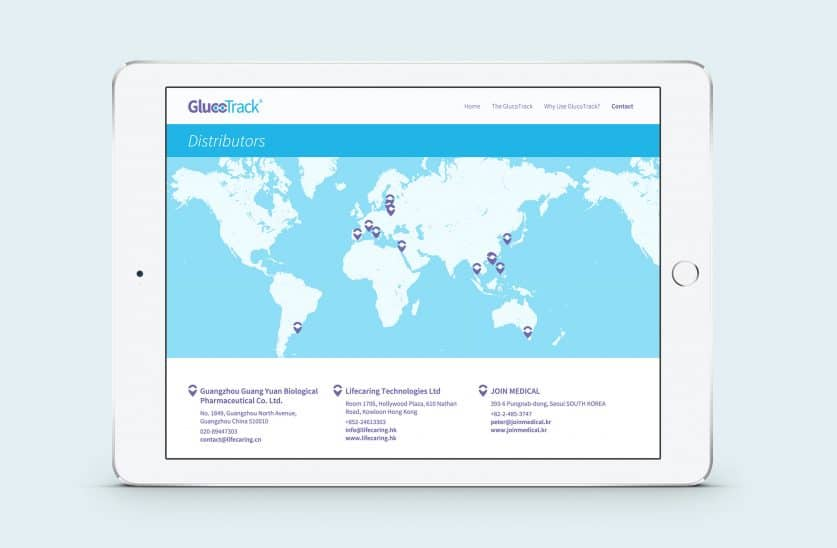 Glucotrack responsive website on ipad