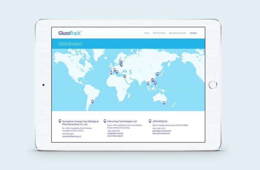 Glucotrack responsive website on ipad
