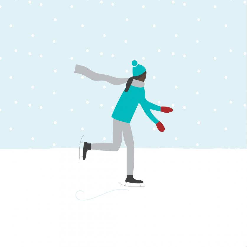 Christmas market illustration ice skater