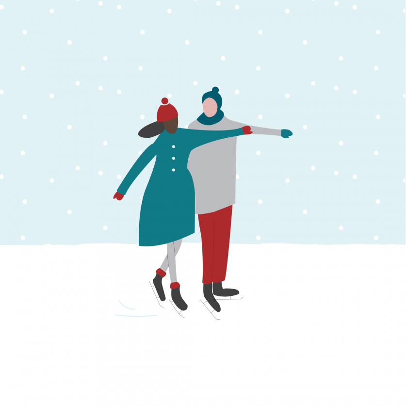 Christmas market illustration ice skaters