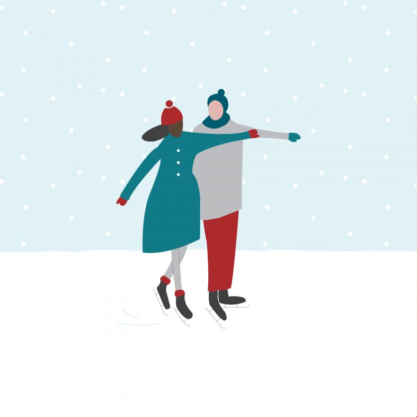 Christmas market illustration ice skaters