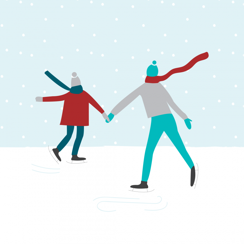 Christmas illustration ice skating