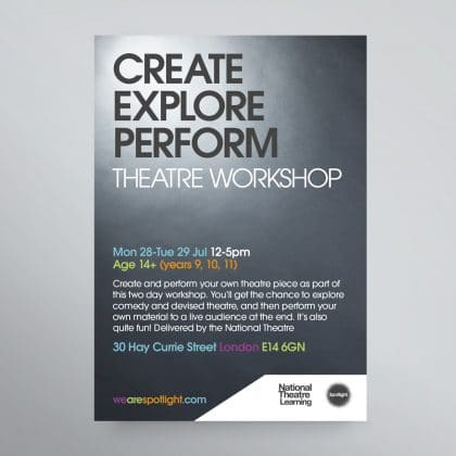 National Theatre learning flyer and poster design