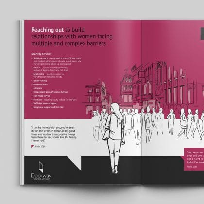Magdalene Group Charity annual report design and illustration